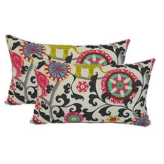 Bohemian Black Pink Elephant Lumbar Pillows - Pair