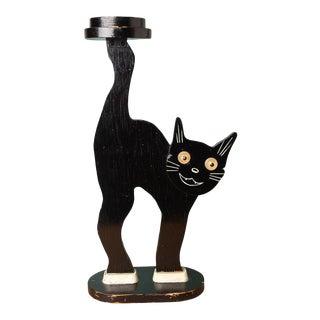 Folk Art Black Cat Drink Table