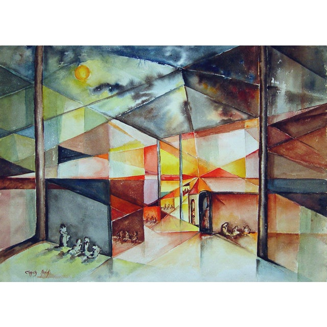 Christy Monk Watercolor - Abstract Gathering - Image 1 of 2