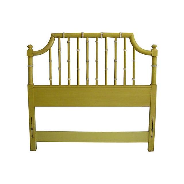 Image of Thomasville Yellow Faux Bamboo Twin Headboard
