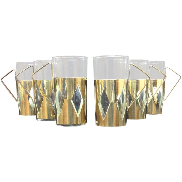 Image of Mid-Century Brass and Glass Cups Plateado Mexico