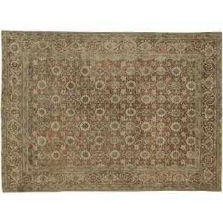 "Antique Persian Tabriz Distressed Rug - 7'1"" X 9'10"""