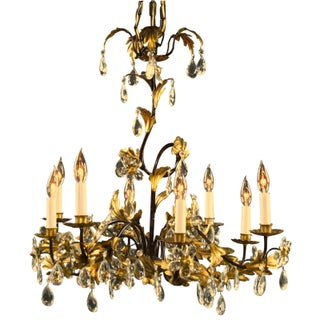 Italian Entwined Gold 8-Arm Chandelier