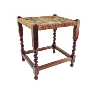 English Oak Twist Footstool With Woven Seat