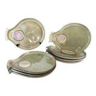 """German Porcelain Opalescent """"Oyster"""" Plates - Set of 8"""