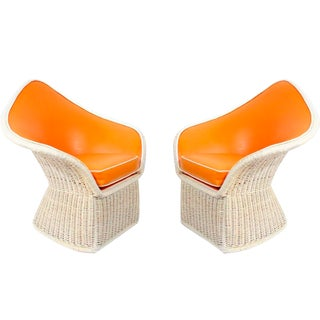 1970s Orange Spade Lounge Chairs - A Pair
