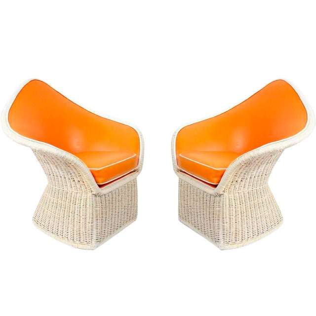 Image of 1970s Orange Spade Lounge Chairs - A Pair