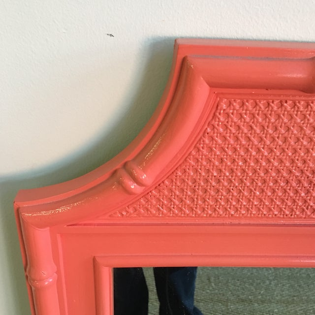 Vintage Coral Faux Bamboo Pagoda Style Mirror - Image 3 of 10