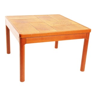 Danish Modern Leaf Print Tile Table