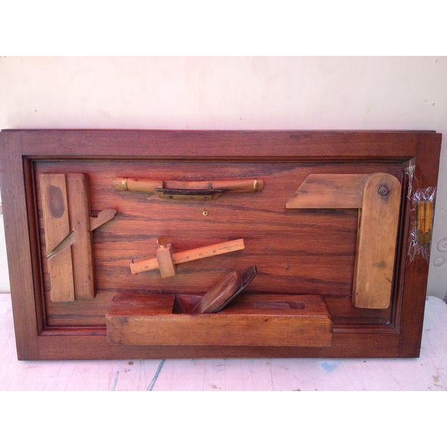 Antique Tools in Reclaimed Wood Shadowbox - Image 2 of 10