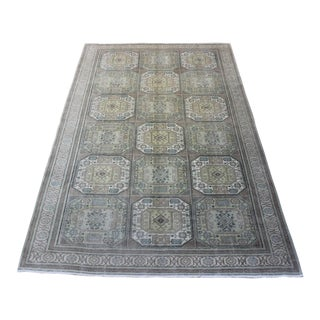 Oriental Turkish Hand Woven Gray Wool Rug - 6' x 9'9""