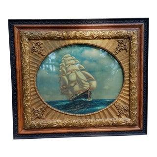 Vintage Framed Ship Print