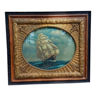 Vintage Framed Ship Art