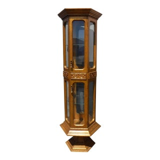 Hollywood Regency 6' Gold Curio Pedestal Display Cabinet