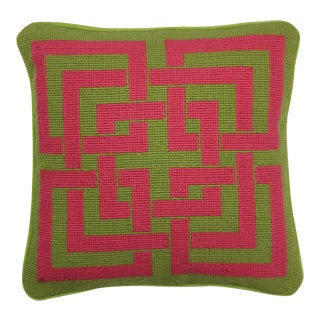 Trina Turk Pink & Green Geometric Needlepoint Pillow
