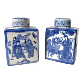Chinese Blue & White Chinoiserie Tea Canisters - A Pair