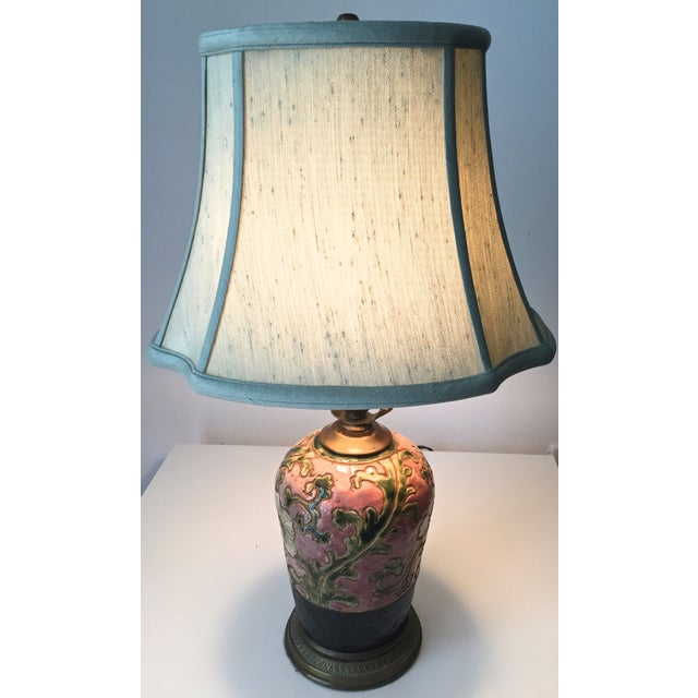 Chinoiserie Pottery Lamp-Bronze Base-Silk Shade - Image 5 of 5