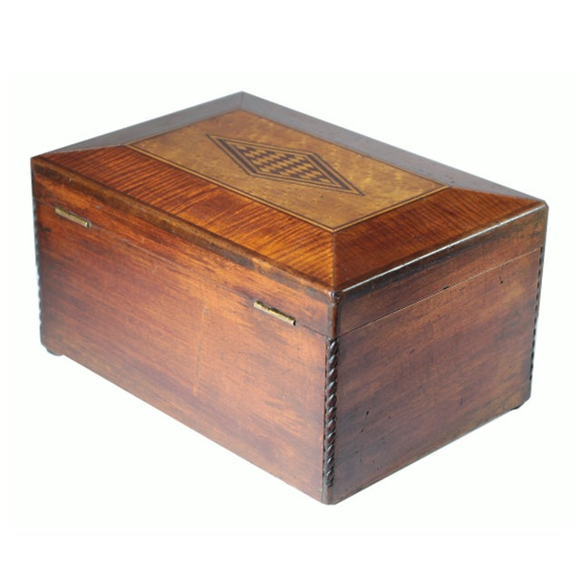 Image of Late 19th C. Inlaid Mahogany and Maple Wood Box