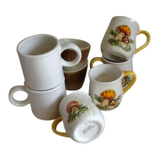Mid-Century Garden Mushroom Mugs - Set of 8