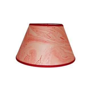 Red Marble & Silver Lampshade