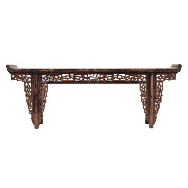 Chinese Rustic Brown Vintage Wood Side Altar Table - Image 1 of 7