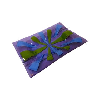 Higgins Purple Glass Ashtray Dish Tray