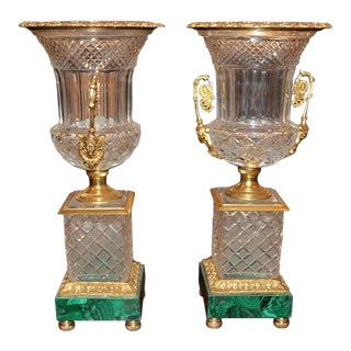 Neoclassical Style Cut Glass Bronze & MalachiteUrns - A Pair