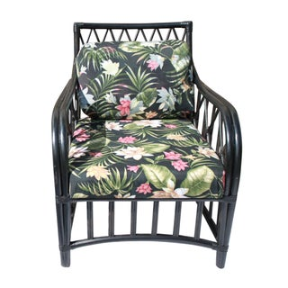 Mark David Black Rattan & Floral Chair