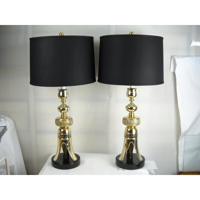 Image of Vintage James Mont-Style Asian Lamps - A Pair