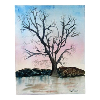 """Tranquil Winter Tree by Frozen Lake"" Original Watercolor Painting"