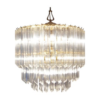 Venini Vintage 1960s Oval Glass & Metal Chandelier