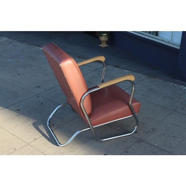 Postmodern Deco Style Chrome Lounge Chair in Mauve - Image 6 of 9