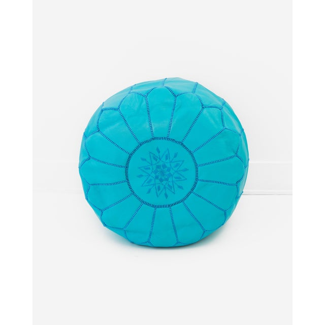 Moroccan Leather Ottoman Pouf, Turquoise - Image 2 of 3