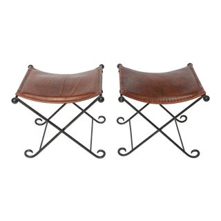 Pair of 1940s Art Deco Leather Seated Iron X Benches