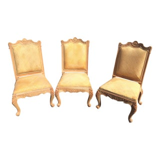 Hand Carved Chairs With Cane Woven Upholstery - S/3