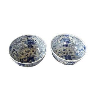 Large Blue & White Round Bowls, Pr