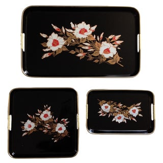 Black Lacquer Chinoiserie Nesting Trays - Set of 3