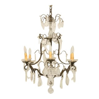 c.1920 French Crystal 6-Light Chandelier