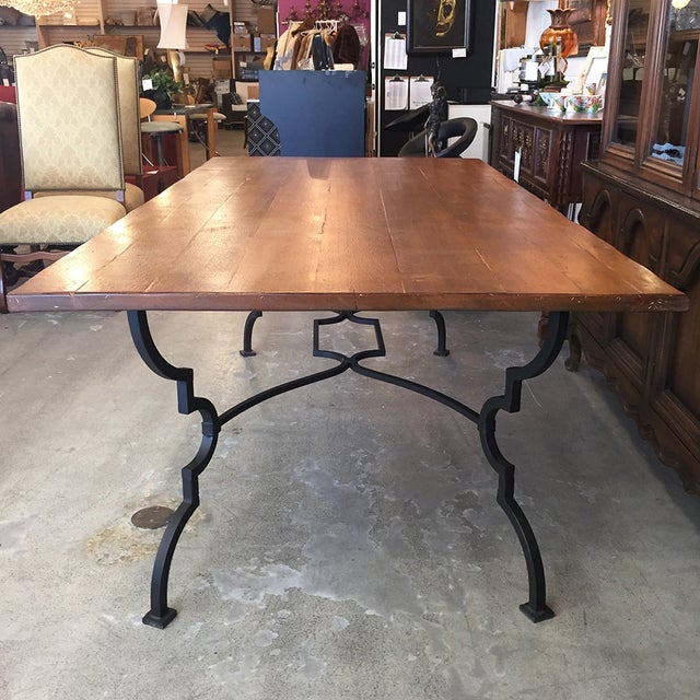 Plank Trestle Table With Iron Base - Image 8 of 10