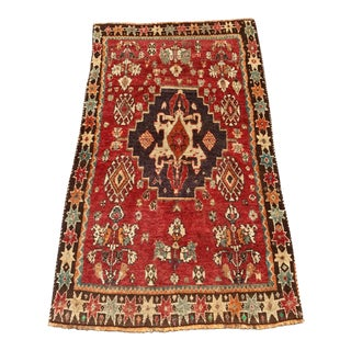 "70-Year Old Vintage Qashqai Area Rug - 3'1"" x 5'4"""