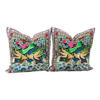 Japanese Woodblock Inspired Pillows - A Pair