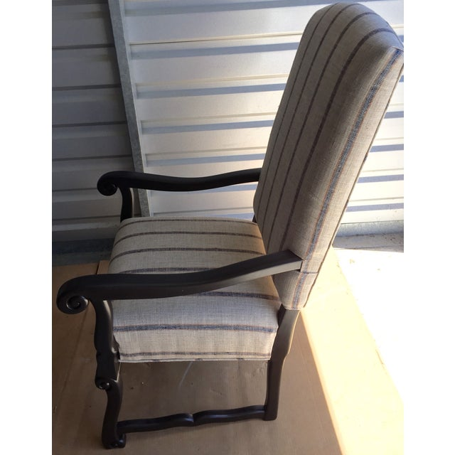 Blue & Beige Striped Accent Chair - Image 3 of 5