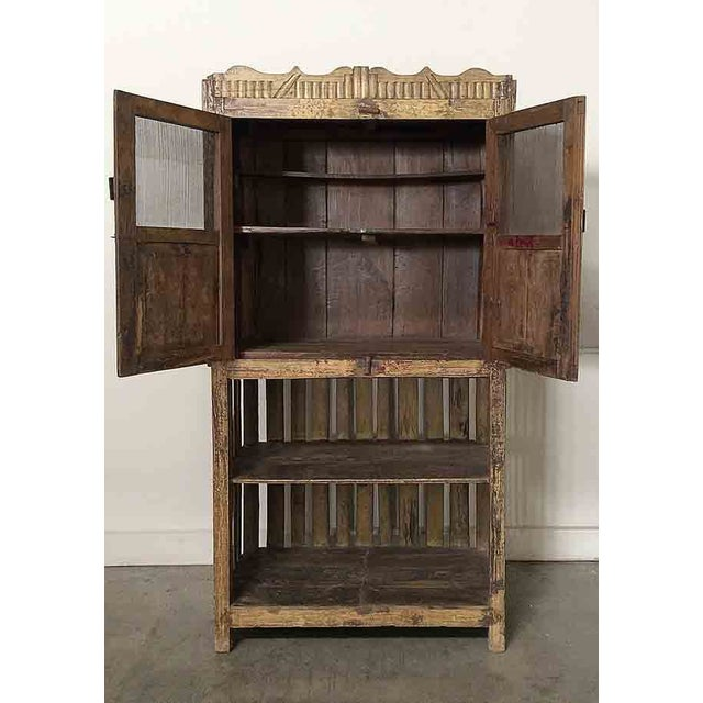 Vintage Yellow Cupboard with Open-Bottom Shelving - Image 3 of 4
