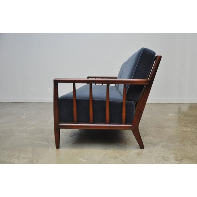 T.H. Robsjohn-Gibbings Open-Arm Sofa in Deep Blue Mohair - Image 5 of 6