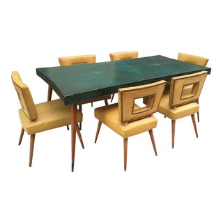 A Leather Top Dining Table w/ Six Chairs manner of James Mont