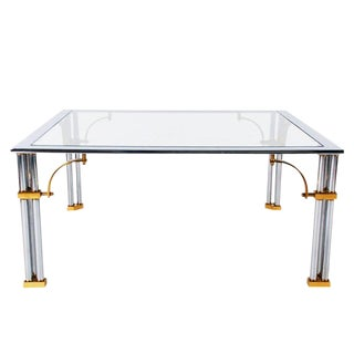 Hollywood Regency Brass & Glass Cocktail Table