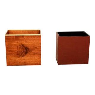 Mid-Century Modern Walnut Planter / Waste Basket Qualiton