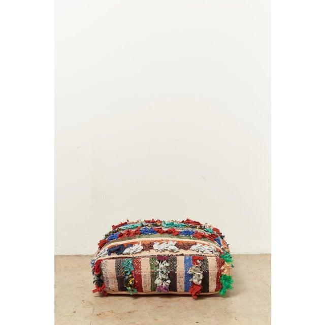 Moroccan Multicolor Floor Cushion Pouf - Image 3 of 4