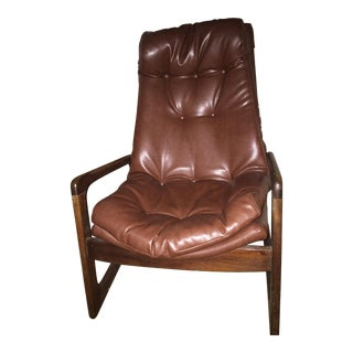Mid-Century Brown Leather Chair