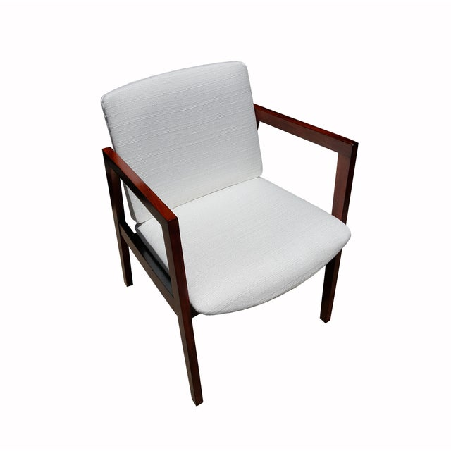 Mid-Century White & Red Wood Office Armchair - Image 5 of 6